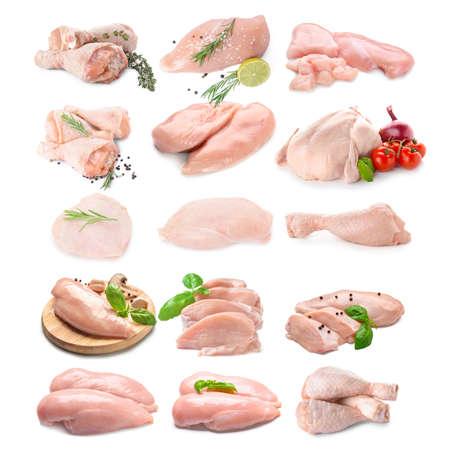 Fresh chicken meat on white background