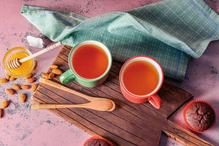 Composition with hot tea on table Archivio Fotografico