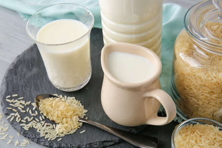 Healthy rice milk on table Stock Photo