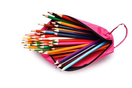 Case with set of colorful pencils on white background Foto de archivo