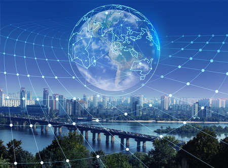 Modern city and digital model of Earth with location pointers. Concept of internet Standard-Bild