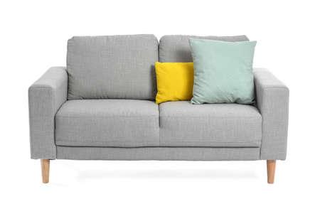 Stylish cozy sofa on white background