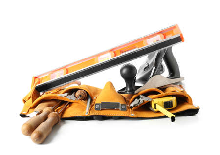 Belt with different carpenter's tools on white background