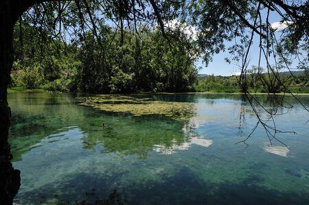 Posta Fibreno, Frosinone, Lazio, Italy. The lake. It is found in Lazio, in the middle valley of the Liri, in the center of the homonymous reserve.