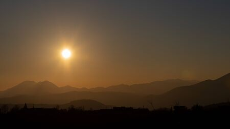 Molise, Mainarde, sunset. The Mainarde mountain range extends along the border between Molise and Lazio, with prevalence in the Molise territory.It is a very rocky natural barrier with a rugged aspect Archivio Fotografico
