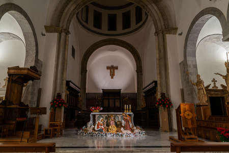 Teano, the Cathedral. Christmas holidays. The Nativity. The Cathedral of San Clemente is the main place of worship in the city of Teano, in Campania, Italy. Stok Fotoğraf