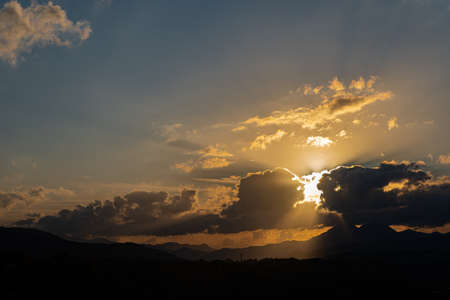 Molise, Mainarde, sunset. The Mainarde mountain range extends along the border between Molise and Lazio, with prevalence in the Molise territory.It is a very rocky natural barrier with a rugged aspect
