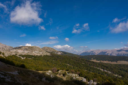 Abruzzo, Italy, Mainarde. National Park of Abruzzo, Lazio and Molise. The Mainarde are a massive limestone with an imposing appearance, whose peaks are among the highest in the Apennines.