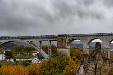 Isernia, Molise, Italy. Santo Spirito railway bridge. View