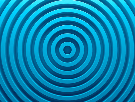 Blue rings abstract pattern for web template background, brochure cover or app. Material style. Geometric 3D illustration.