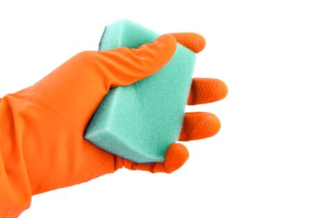 Hand in a glove and a sponge photo
