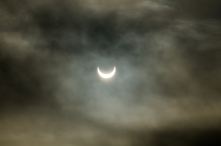 The final stage of the solar eclipse in Europe at the beginning of the January, 2011
