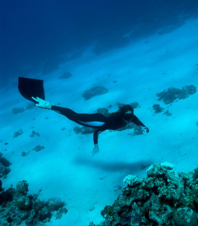 Freediver girl investigates a coral reef near the Red Sea bottom