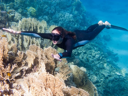 Beautiful girl with monofin swims above coral reef in Dahab, Egypt