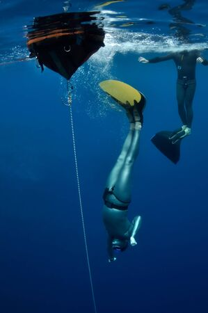 freediver: Freediver started his dive from the surface into the depth of Blue Hole. Egypt Stock Photo