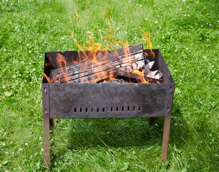Close up view of the fire tongues in the barbecue on a green garden grass