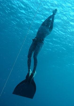 freediver: The freediver returns to the surface from the deep dive in Blue Hole, Dahab. Egypt
