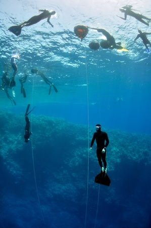 A lot of freedivers train in the depth of Blue Hole