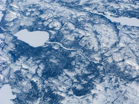 Aerial view of the Canadian spermatozoon-like lake and river