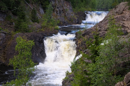 powerfull: This picture shows Kivach - the most powerfull waterfall in Karelia region (approximately 12 meters)