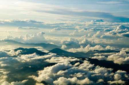 forecast: Beautiful aerial view of the cloudscape taken above Nepal in the evening