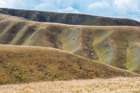 Impressive changes of grass color on Tibetan mountains slopes