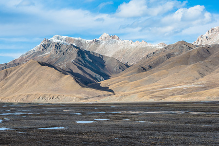 iciness: Beautiful Tibetan landscape with frozen lakes, snowy mountains and cloudy sky at Qinghai province