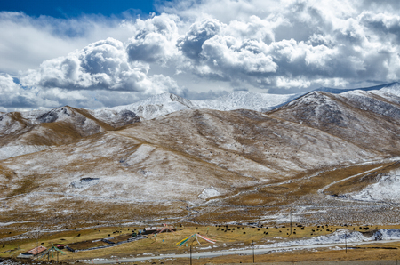 iciness: Astonishing Tibetan cloudy sky and high altitude snowy mountains  near the nomad's camp