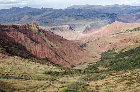 Red-colored Tibetan geological structures near Lajiaxiang city at Qinghai province