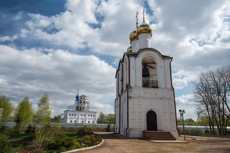Close view of the belfry at Saint Nicholas (Nikolsky) monastery, Pereslavl-Zalessky, Russia photo