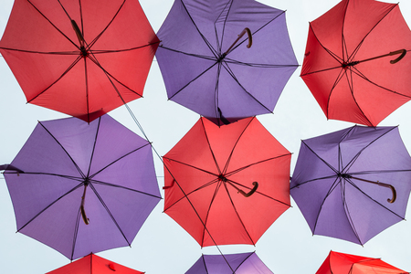 the view from below: Hanging colorful decorative umbrellas, view from below