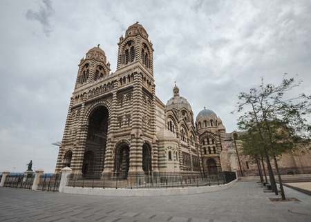 enormous: Enormous Marseilles Cathedral, one of the largest cathedrals in France, in a cloudy day