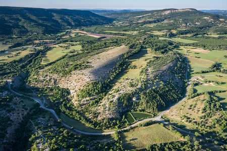 knoll: Picturesque view of green hills and cultivated land of Provence, France