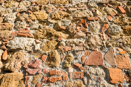 Close up view of an aged textured stone wall of a historical building