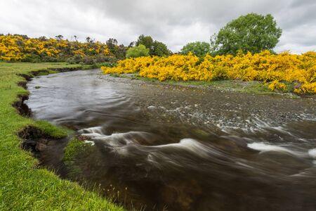 Eglinton River is bending over grassland valley under depressing clouds