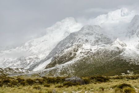 Fuzzy snowy mountains along the Hooker Valley Track, Mount Cook National Park