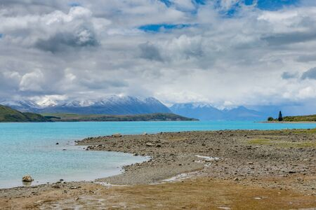 Impressive water colour and mountain landscape at the Tekapo Lake