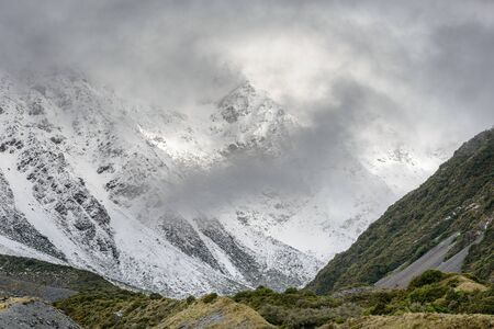 Snowy mountains along the Hooker Valley Track, Mount Cook National Park
