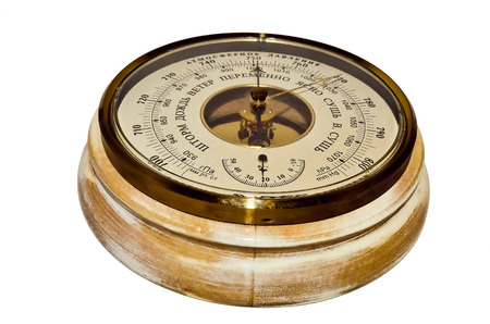 aneroid: Round wooden barometer on a white background Stock Photo