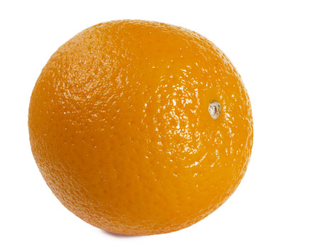 one object: Orange on a white background. The isolated object on a horizontal surface. Indoors. Close up. One object. Color. Shadow.