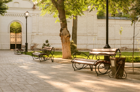 Benches, tree, lamps in park. Landscape. The place of shooting - city park. Time - summer, morning. Outdoors. Horizontal. In the foreground - a bench. Side view. On the average plan - a tree. On a distance shot - a bench, a lamp and a brick wall with gate