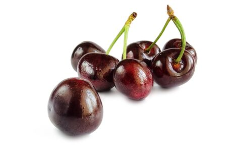 Sweet cherry berries on a white hum noise. Stock Photo