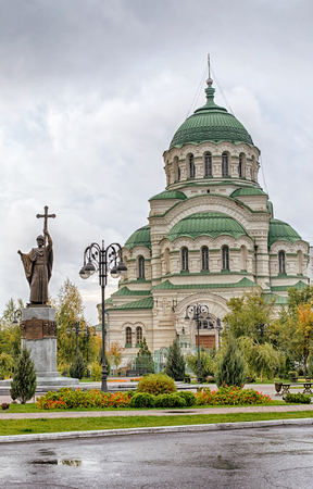 Cathedral of the Saint prince of Vladimir in cloudy weather in the fall. Outdoors