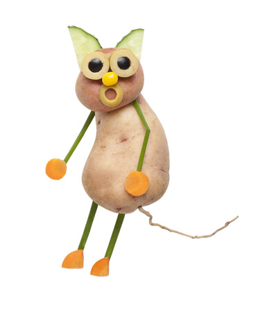 caricature cat: Funny cat made of potatoes Stock Photo
