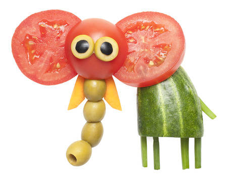 funny tomatoes: Elephant made of vegetables