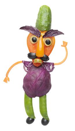 angry vegetable: Angry vegetable man waving hand Stock Photo
