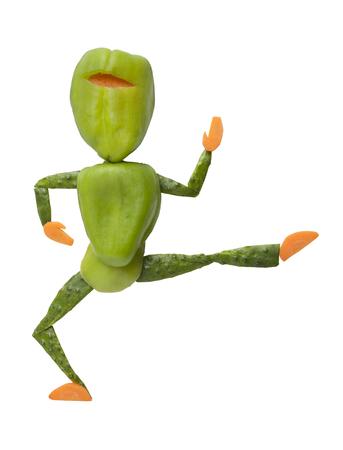 ninja: Green pepper ninja jumps and kicks