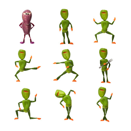 compilation: Compilation of vegetable ninjas on isolated background