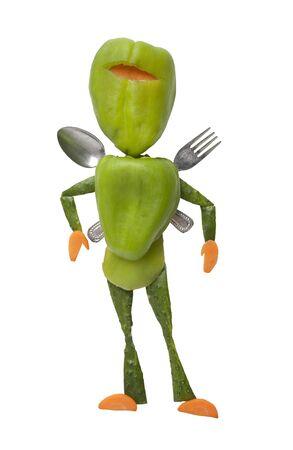 ninja: Funny ninja made of fresh vegetables with fork and spoon