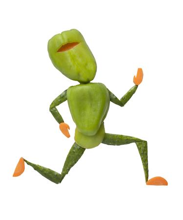 ninja: Green ninja made of fresh vegetables on isolated background Stock Photo